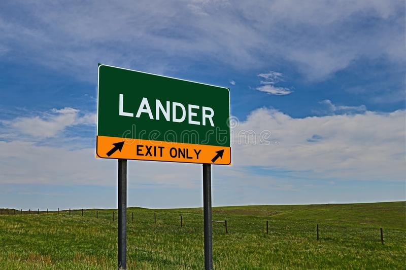 US Highway Exit Sign for Lander. Lander `EXIT ONLY` US Highway / Interstate / Motorway Sign royalty free stock photos
