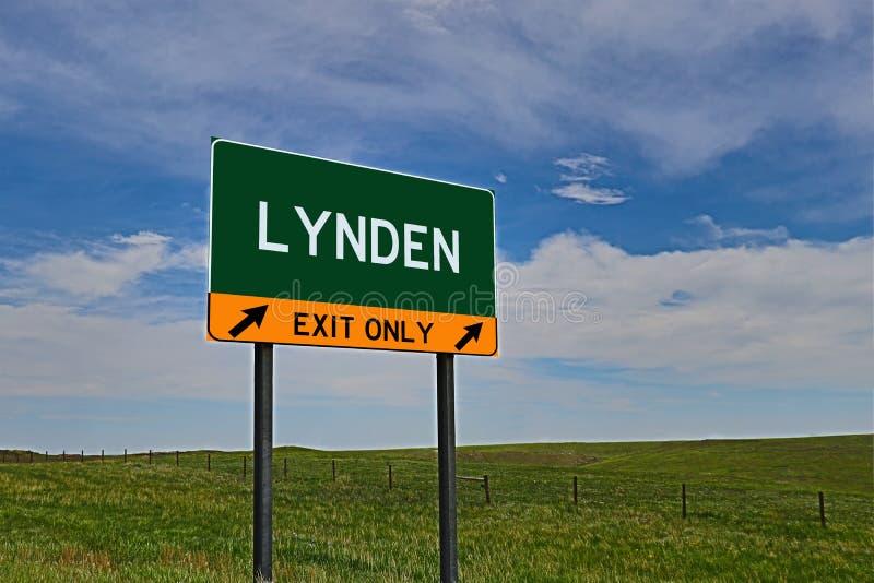 US Highway Exit Sign for Lynden. Lynden `EXIT ONLY` US Highway / Interstate / Motorway Sign stock image