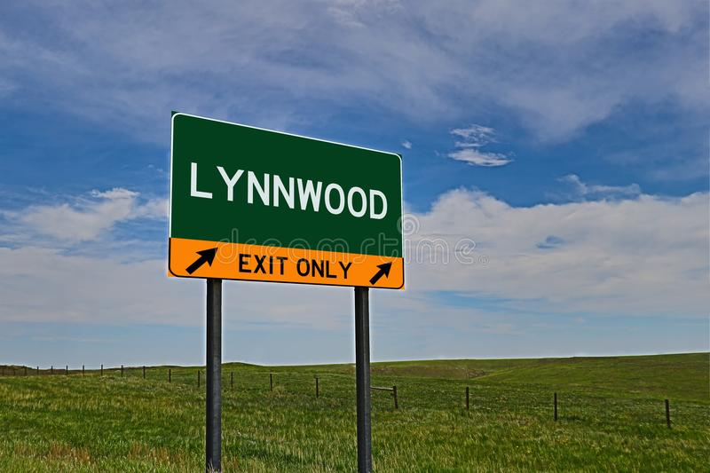 US Highway Exit Sign for Lynnwood. Lynnwood `EXIT ONLY` US Highway / Interstate / Motorway Sign stock image