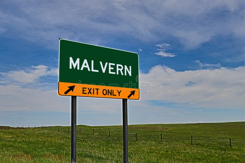 US Highway Exit Sign for Malvern. Malvern `EXIT ONLY` US Highway / Interstate / Motorway Sign stock photography