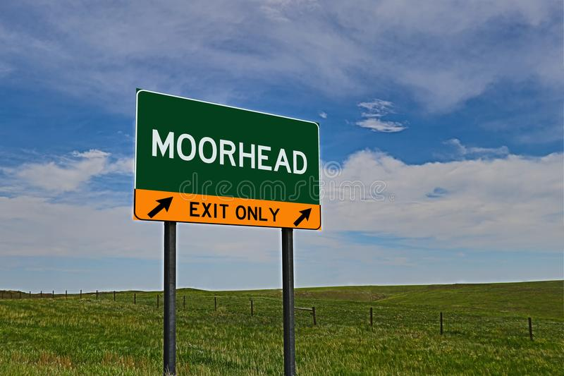 US Highway Exit Sign for Moorhead. Moorhead `EXIT ONLY` US Highway / Interstate / Motorway Sign royalty free stock photography