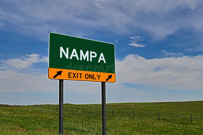 US Highway Exit Sign for Nampa. Nampa `EXIT ONLY` US Highway / Interstate / Motorway Sign stock image