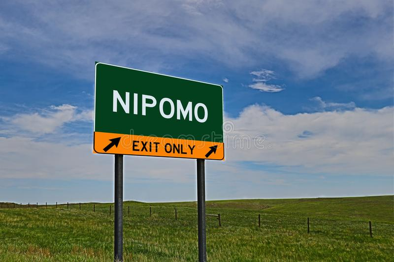 US Highway Exit Sign for Nipomo. Nipomo `EXIT ONLY` US Highway / Interstate / Motorway Sign stock photo