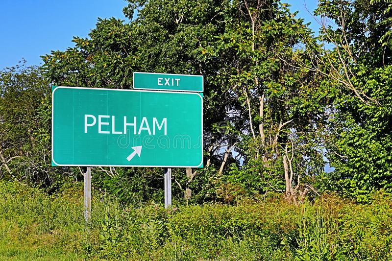 US Highway Exit Sign for Pelham. Pelham US Style Highway / Motorway Exit Sign stock photography