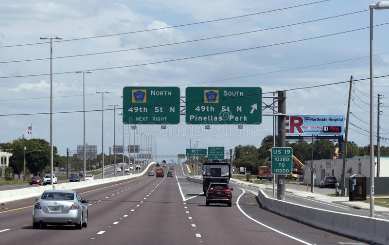 US 19 Highway at junction 49th Street Florida stock photo