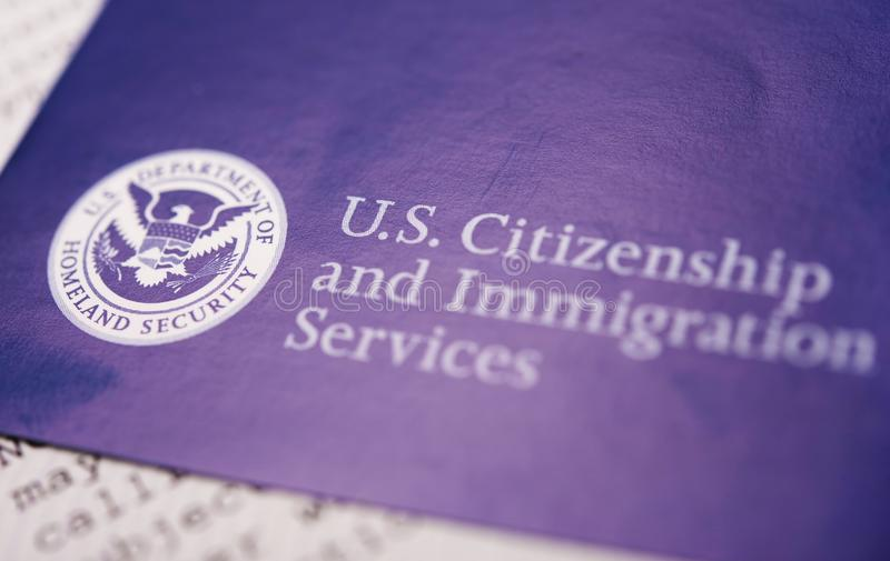 US Homeland Security. Citizen and Immigration Services Flyer Closeup stock images