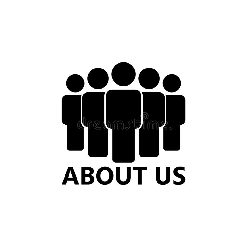 ABOUT US icon or sign. On white background stock illustration