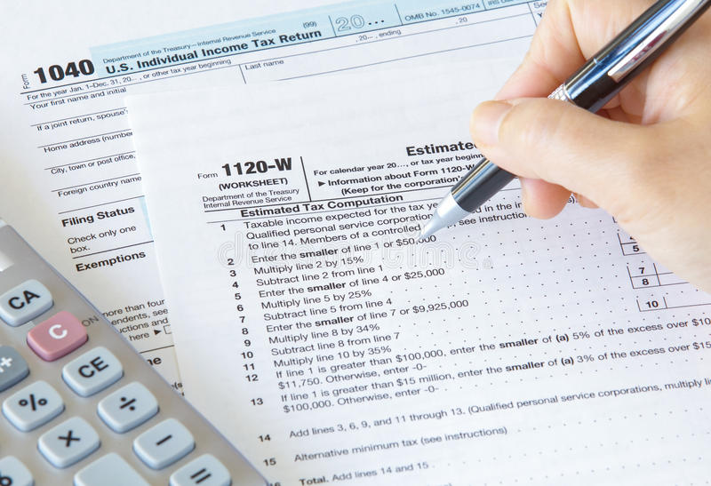 US income tax form. Close - up US income tax form stock image