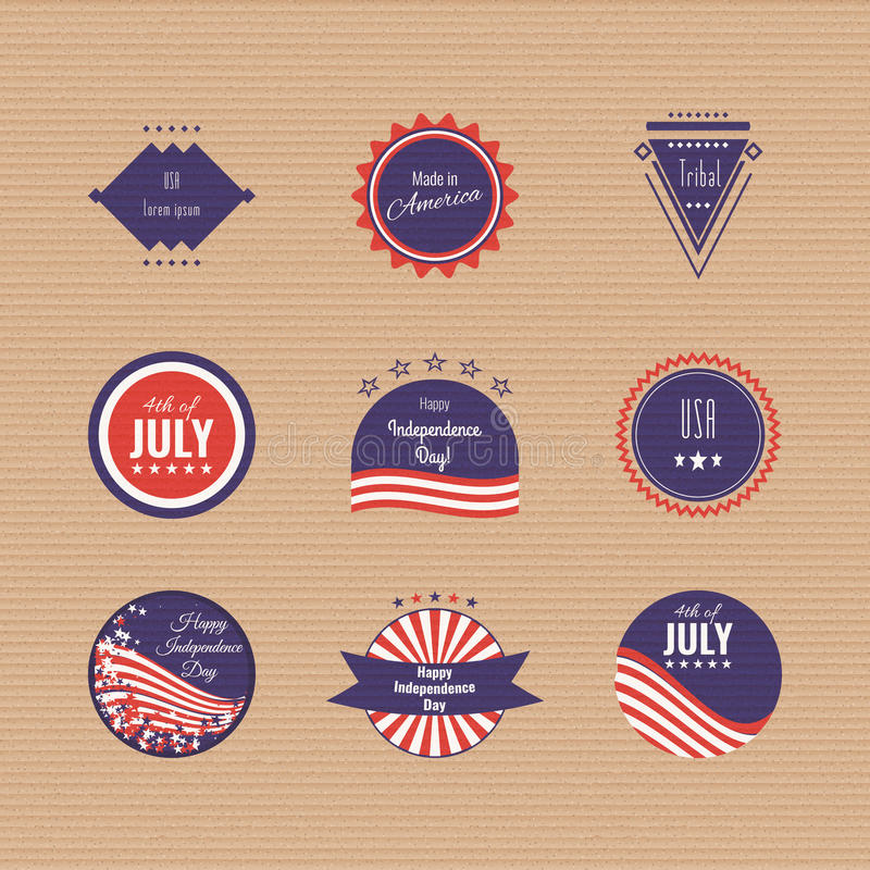 US Independence Day logotypes. Set of logos. The 4th og July. American flag colors. Stock vector royalty free illustration
