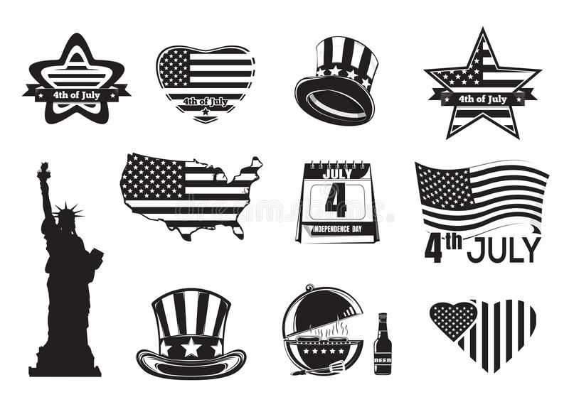 US Independence Day monochrome icon set royalty free illustration