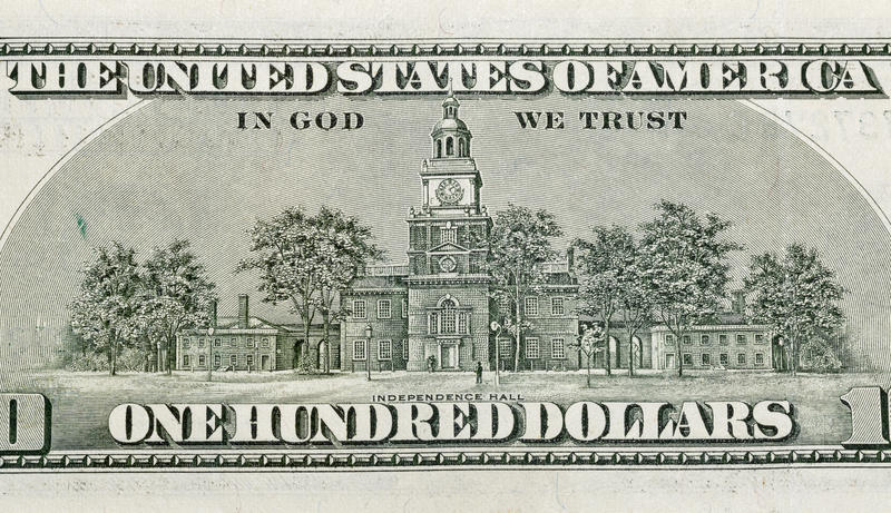 US Independence Hall on back of one hundred dollars bill royalty free stock images