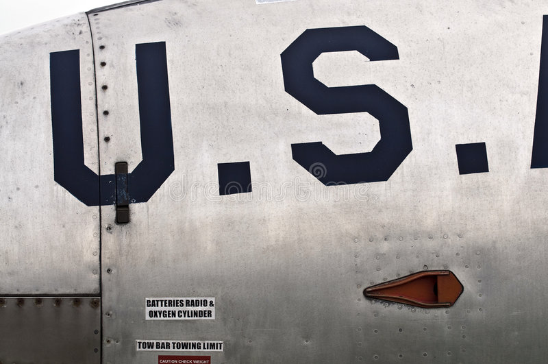 US insignia. On side of jet fighter aircraft stock image