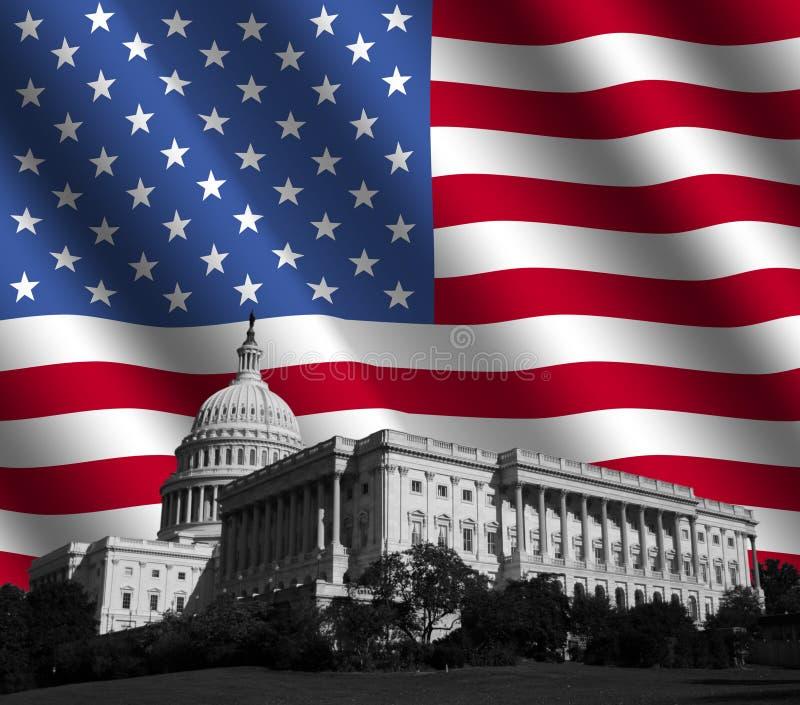 US-Kapitol mit amerikanischer Flagge lizenzfreie abbildung