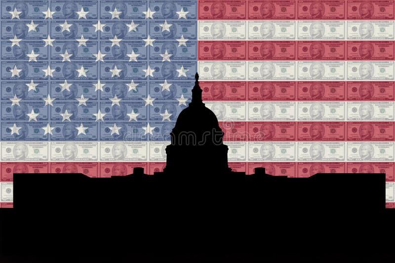 US-Kapitol mit Markierungsfahne lizenzfreie abbildung