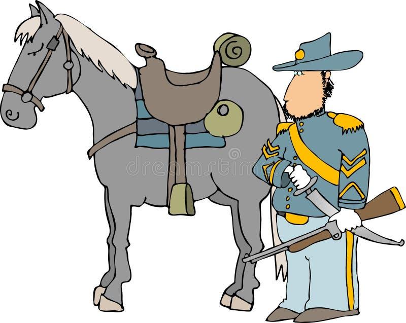 US-Kavallerie befehligen und sein Pferd lizenzfreie abbildung