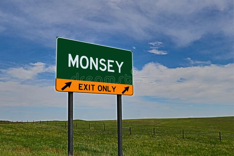 US-Landstraßen-Ausgangs-Zeichen für Monsey stockfoto