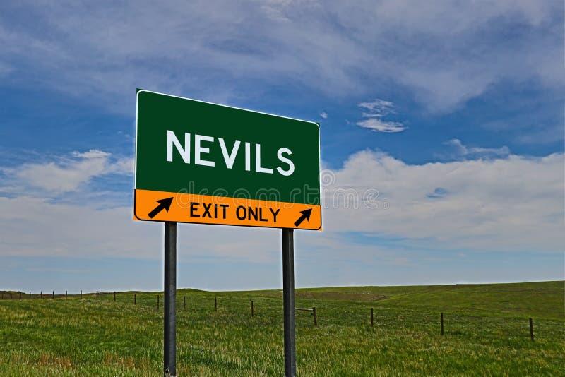 US-Landstraßen-Ausgangs-Zeichen für Nevils lizenzfreie stockbilder