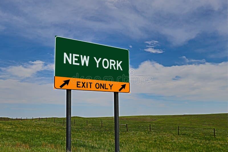 US-Landstraßen-Ausgangs-Zeichen für New York lizenzfreies stockfoto