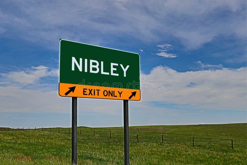 US-Landstraßen-Ausgangs-Zeichen für Nibley lizenzfreies stockfoto