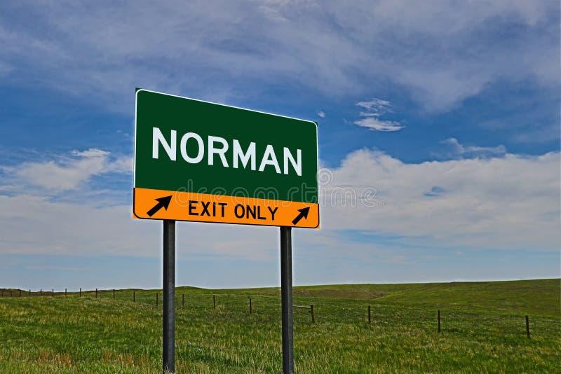US-Landstraßen-Ausgangs-Zeichen für Normannen lizenzfreies stockfoto