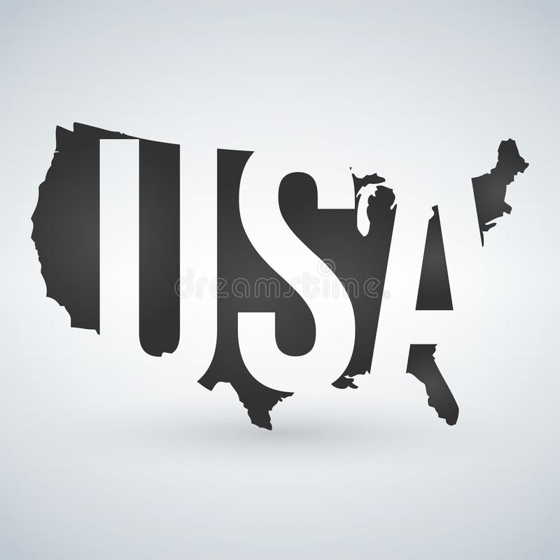 US logo or icon with USA letters across the map, United States of America. Vector illustration isolated on modern background with stock illustration