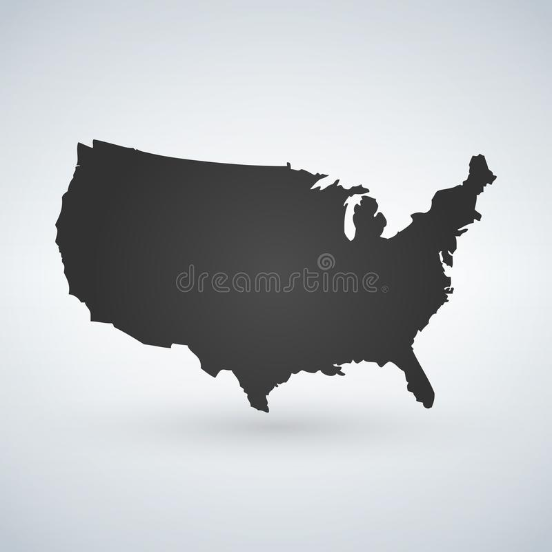 US logo or icon with USA letters across the map, United States of America. Vector illustration isolated on modern background with. Shadow royalty free illustration