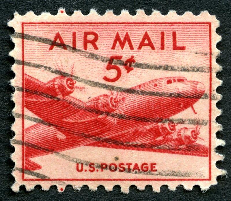 US-Luftpost-Briefmarke lizenzfreie stockfotos