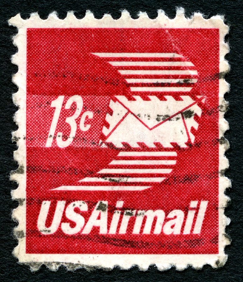 US-Luftpost-Briefmarke stockbilder