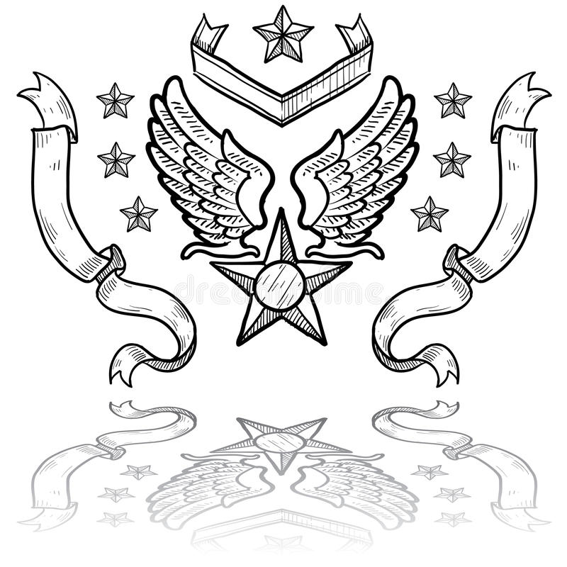 US-Luftwaffen-Abzeichen mit Farbbändern lizenzfreie abbildung