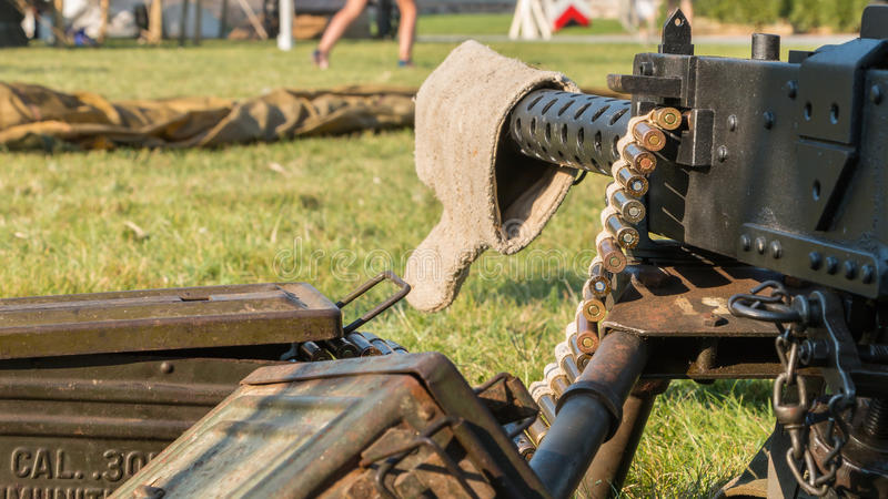 Us machine gun close-up. Les Sables d'Olonne, France - August 26, 2016 : commemoration of the Liberation of Les Sables d'Olonne, which took place on the night of stock image