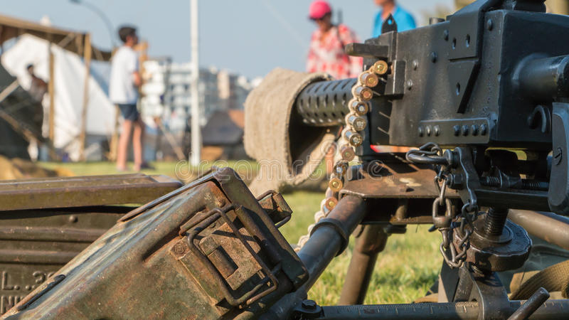 Us machine gun close-up. Les Sables d'Olonne, France - August 26, 2016 : commemoration of the Liberation of Les Sables d'Olonne, which took place on the night of royalty free stock photography