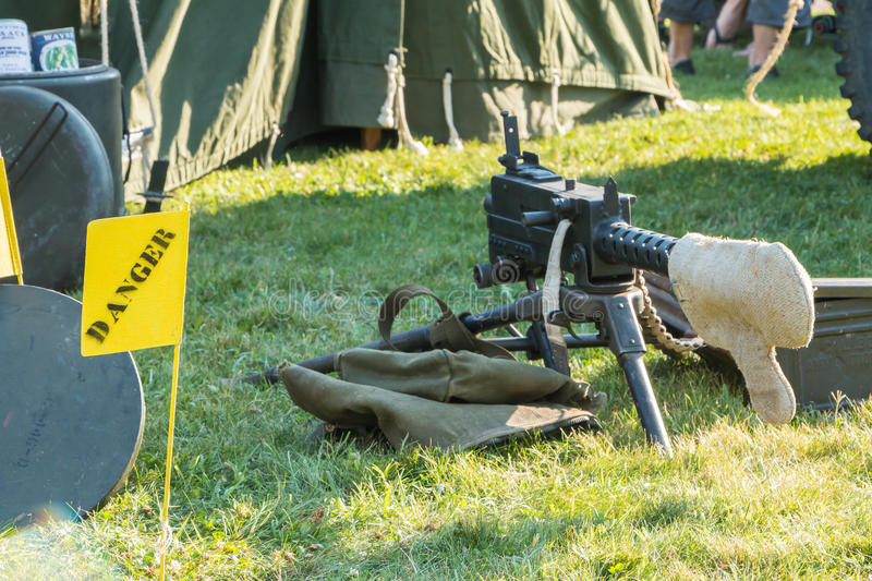 Us machine gun close-up. Les Sables d'Olonne, France - August 26, 2016 : commemoration of the Liberation of Les Sables d'Olonne, which took place on the night of stock photo