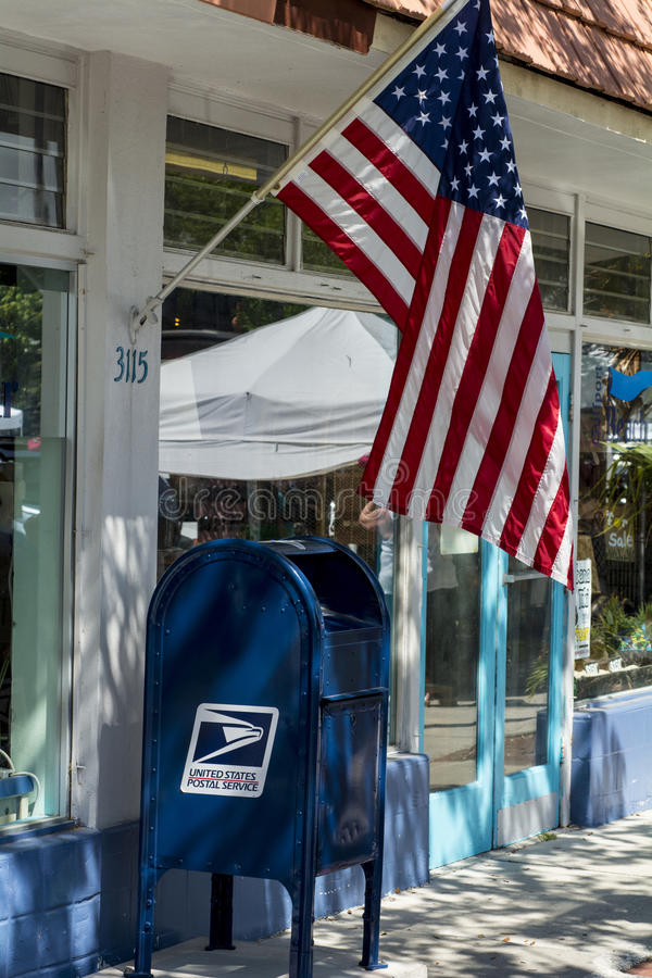Us mailbox with flag royalty free stock photography