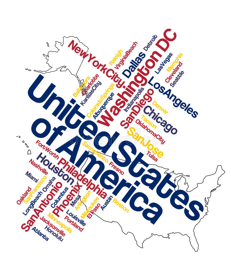 US map and cities. Map of United States of America and words cloud with its larger cities