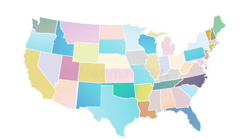 US Map Pastels Color Stock Illustration Illustration Of Detailed - Us map fill in colors