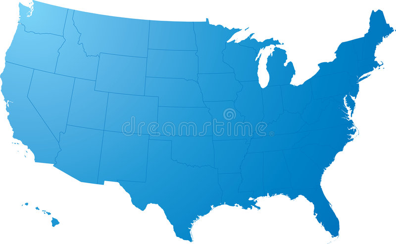 Us map plain. A blue map on a solid white background