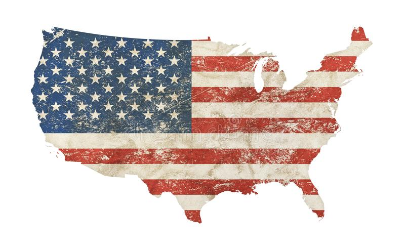 US map shaped grunge vintage faded American flag stock illustration