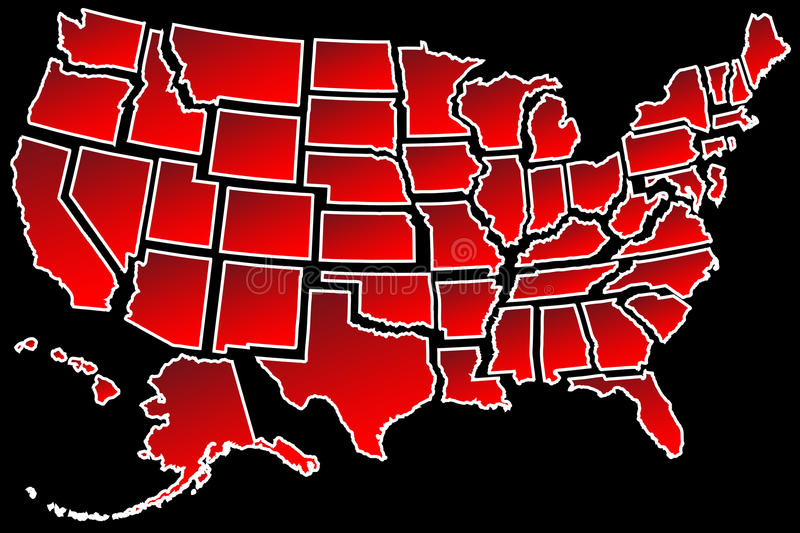 US Map 50 United States borders. Map of America USA fifty states separated white border isolated on black