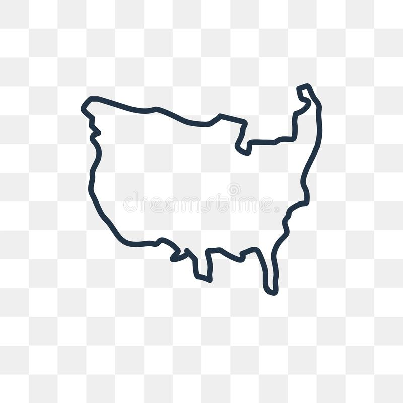 US map vector icon isolated on transparent background, linear US. US map vector outline icon isolated on transparent background, high quality linear US map stock illustration