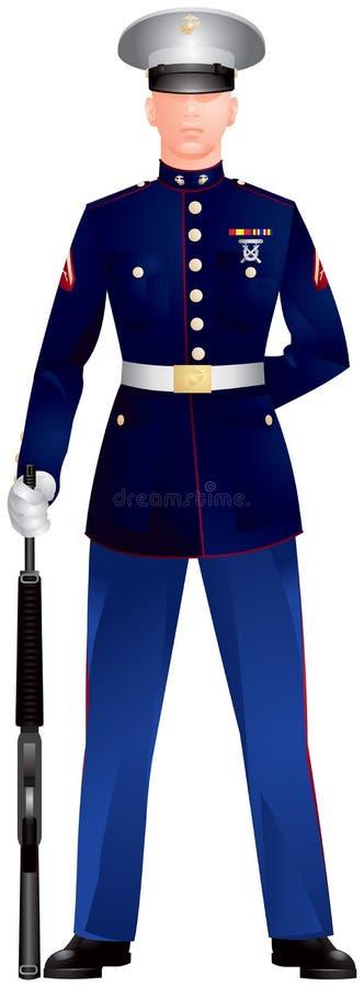 US Marine Corp Blue Dress Uniform stock illustration