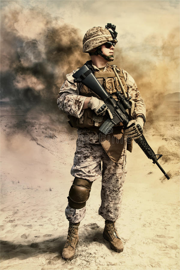 US marine in the desert royalty free stock images