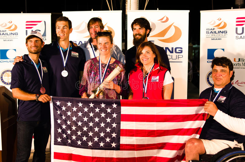 US medalists at the ISAF Sailing World Cup in Miami. Miami, USA, February 1, 2014 - US medalists at the ISAF Sailing World Cup in Miami. L-to-R: Stu McNay (470 stock images