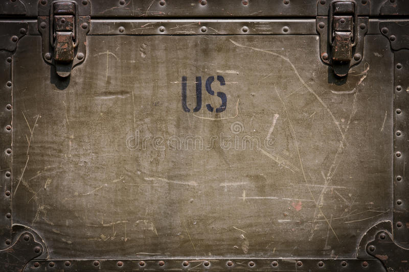Us military background. Green grunge military chest background with rivets