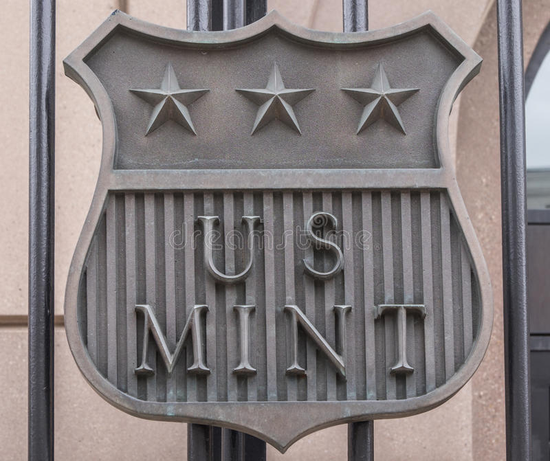 US Mint Sign. A sign for the United States mint in Denver, Colorado stock photography