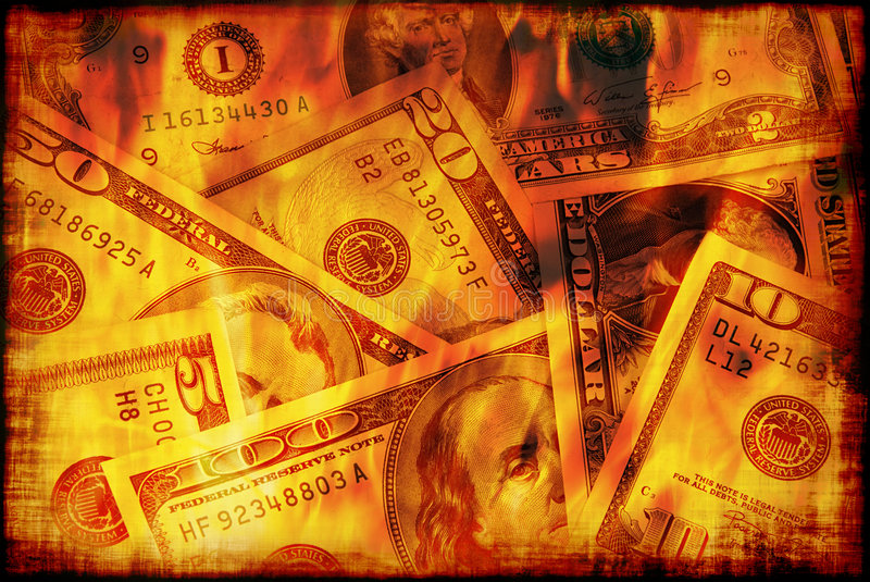 US money burning. Banknotes of United States of America - dollars are burning in flame of recession