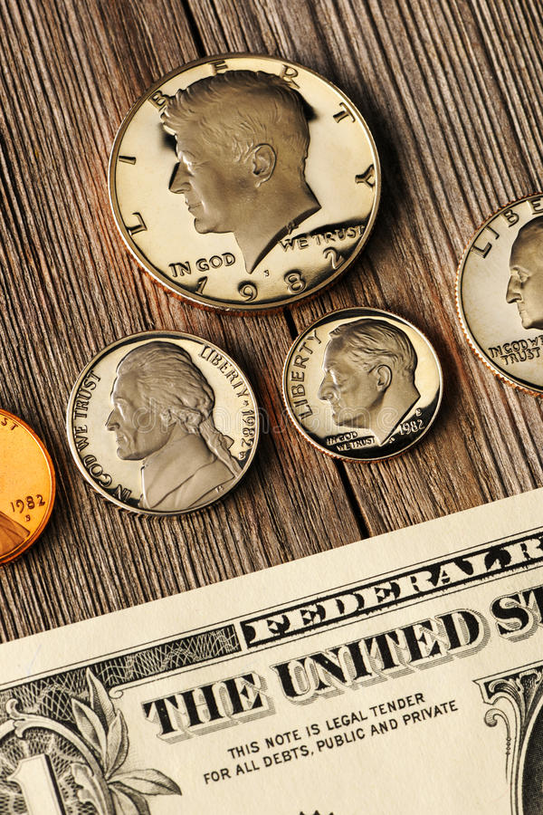 US money over wooden background stock photography