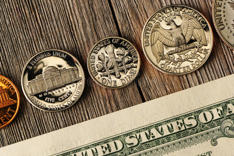 US money over wooden background stock photos