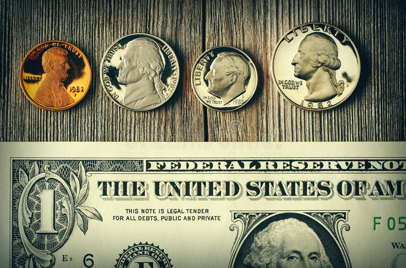 US money over wooden background stock images