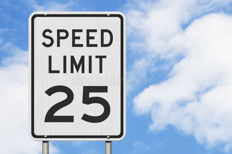 US 25 MPH-Höchstgeschwindigkeitszeichen lizenzfreie stockbilder