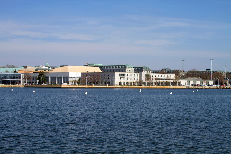 US Naval Academy Skyline. Skyline of the campus of the United States Naval Academy located in Annapolis, Maryland as seen from across the Severn River stock image